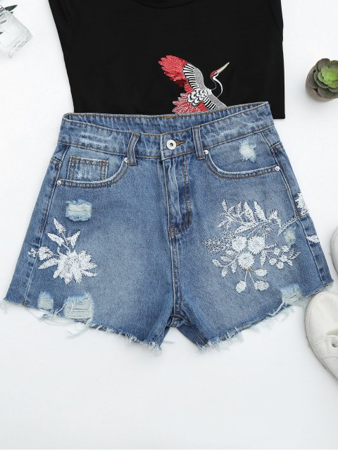 fashion Cutoffs Ripped Floral Embroidered Denim Shorts - DENIM BLUE L Mobile