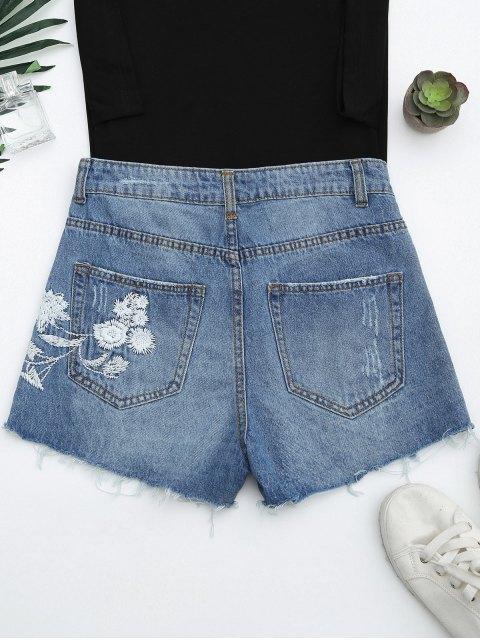 Shorts en jean brodés à motif floral - Denim Bleu M Mobile