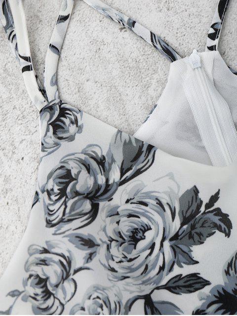Impression Floral Cami Romper - Blanc M Mobile