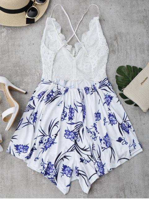 shops Lace Panel Printed Open Back Romper - WHITE XL Mobile