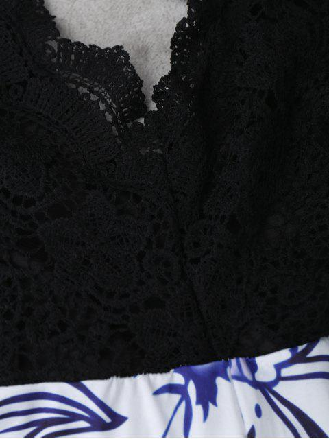 fashion Lace Panel Printed Open Back Romper - BLACK M Mobile