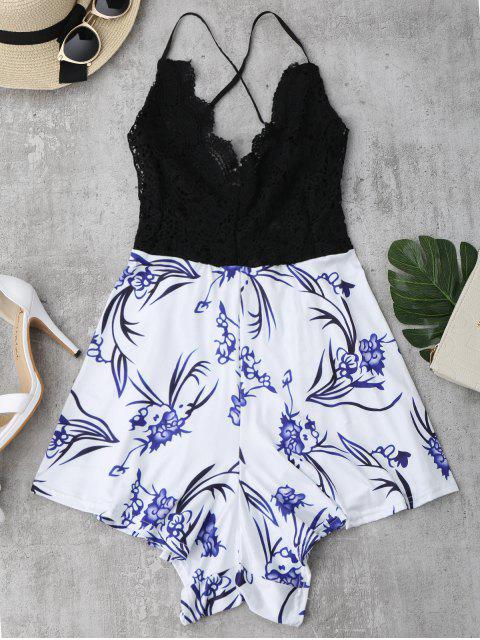 chic Lace Panel Printed Open Back Romper - BLACK S Mobile