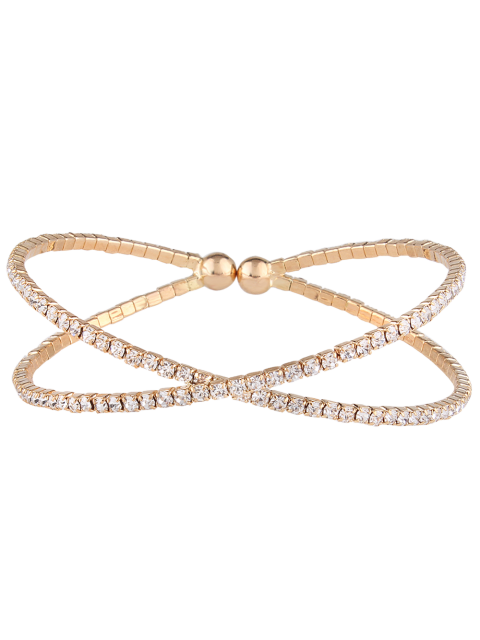 sale Double Crossed Loops Rhinestone Bangle - GOLDEN  Mobile