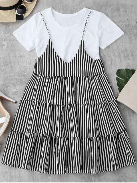 online Plain Tee with Striped Cami Dress Set - BLACK ONE SIZE Mobile