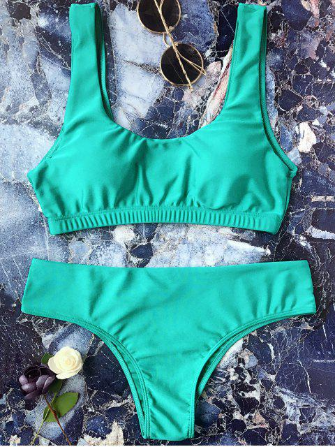 hot Padded Scoop Bikini Set - GREEN L Mobile