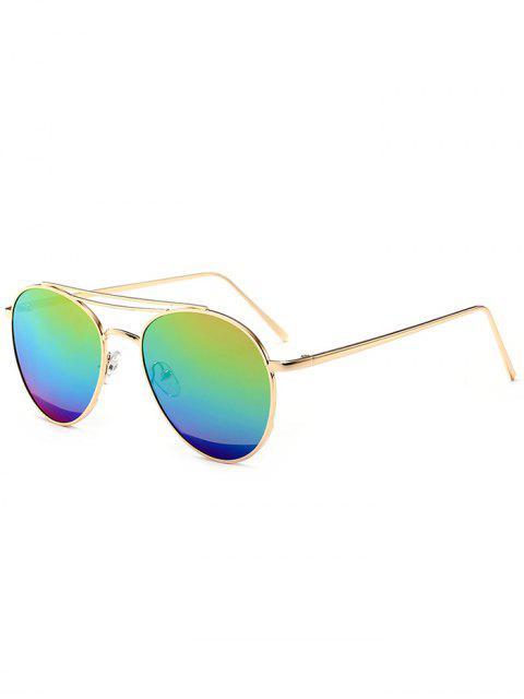 Gespiegelte Doppelte Metall Querlatte Pilot Sonnenbrille - Blau + Gelb + Grün  Mobile