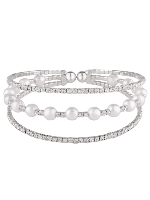 affordable Faux Pearl Layered Rhinestone Bracelet -   Mobile