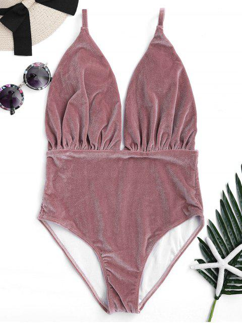 best Padded Velvet Plunge One Piece Swimsuit - CLARET M Mobile