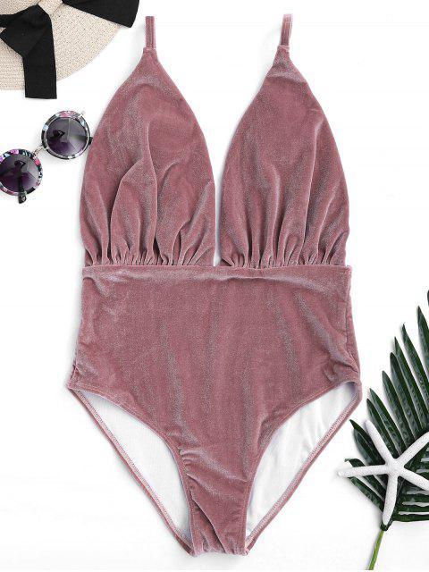 online Padded Velvet Plunge One Piece Swimsuit - CLARET S Mobile