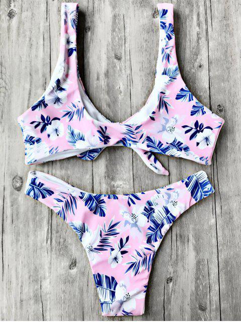 shop Reversible Knotted Bralette Bikini Set - PINK L Mobile