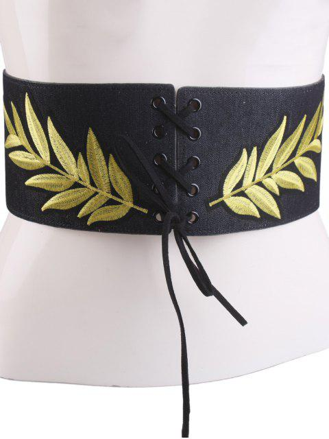best Lace Up Leaf Embroidery Wide Corset Belt - BLACK  Mobile