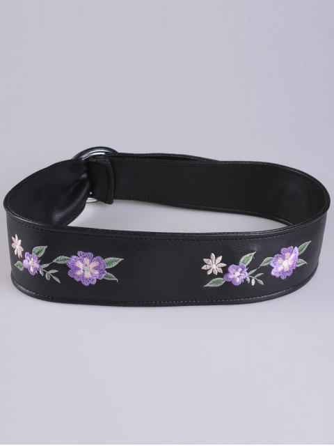 online Faux Leather Round Buckle Floral Embroidery Belt - PURPLE  Mobile