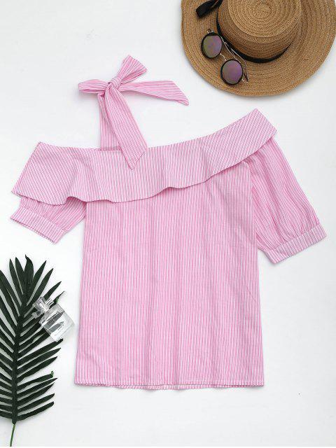 ladies Skew Collar Self Tie Striped Blouse - PINK M Mobile