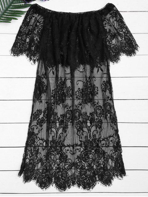 Blouse transparente en dentelle à épaule dénudée - Noir XL Mobile