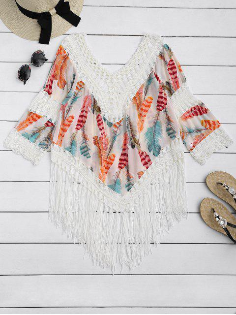 hot Feather Print Crochet Fringed Blouse - BEIGE ONE SIZE Mobile