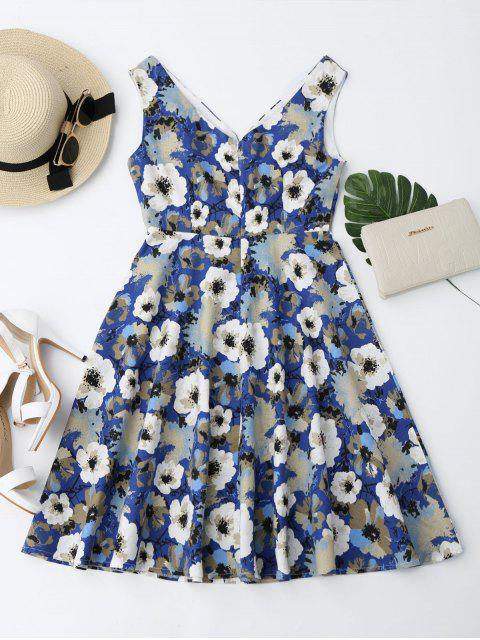 sale Notched Collar Flower Flare Dress - FLORAL XL Mobile