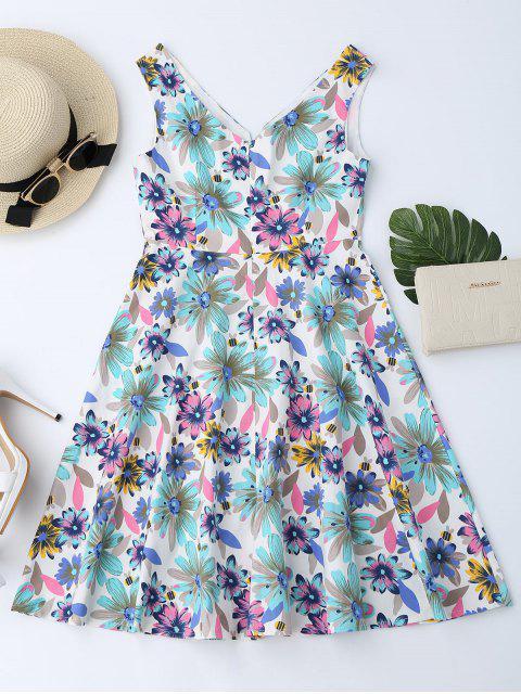 women Floral Print Notched Flare Dress - FLORAL XL Mobile