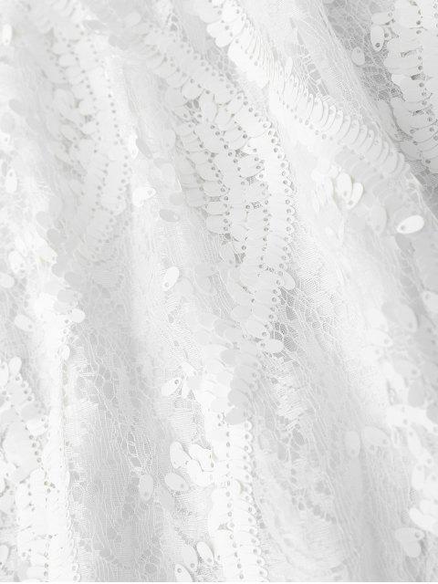 ladies Sequins Lace Cami Dress - WHITE M Mobile