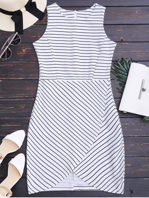 hot Round Collar Sleeveless Striped Dress - STRIPE M Mobile