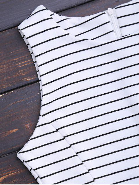hot Round Collar Sleeveless Striped Dress - STRIPE M Mobile