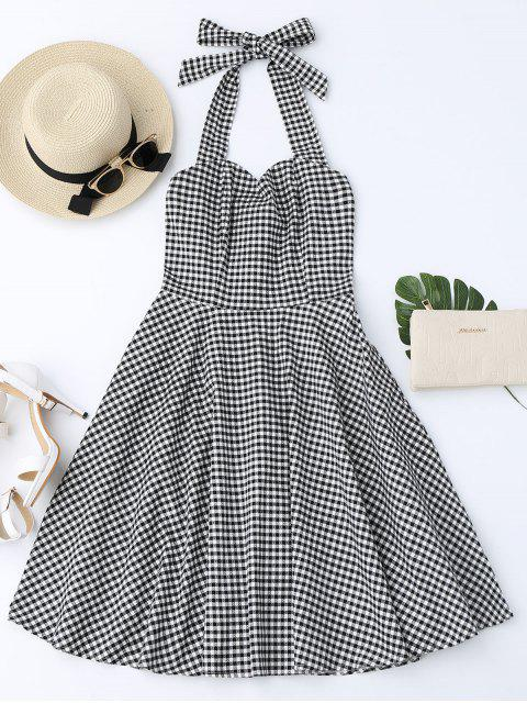 trendy Halter Vintage Checked Dress - CHECKED XL Mobile