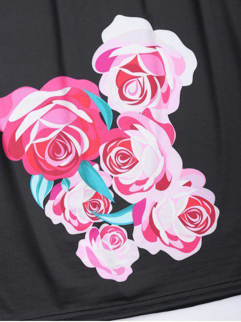 fashion Off Shoulder Ruffle Floral Sheath Dress - BLACK S Mobile