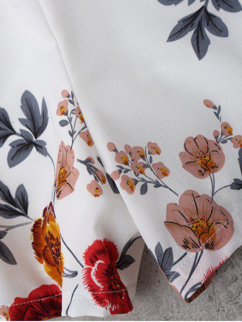 women Floral Print Self Tie Cami Romper - WHITE L Mobile