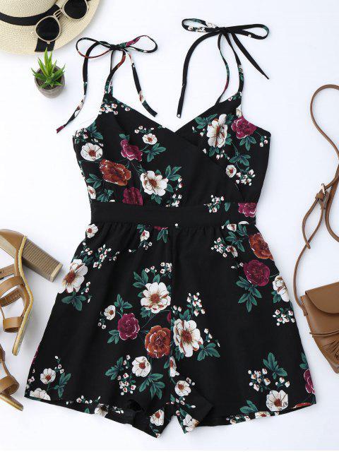 lady Floral Print Self Tie Cami Romper - BLACK S Mobile