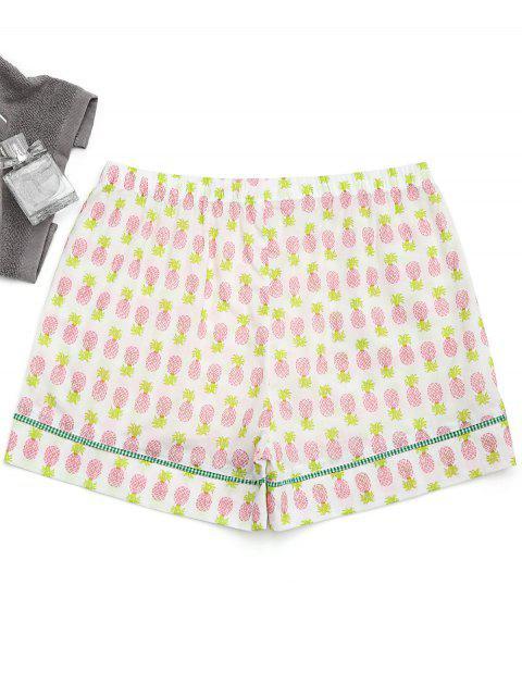 fashion Pockets Pineapple Loungewear Shorts - WHITE S Mobile