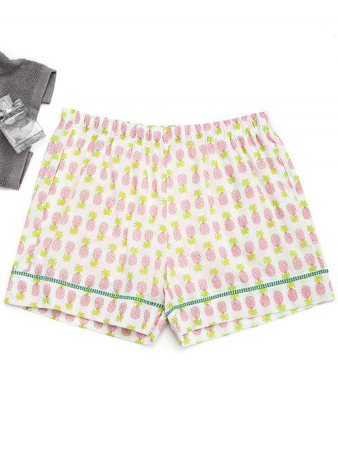 fashion Pockets Pineapple Loungewear Shorts - WHITE S Mobile