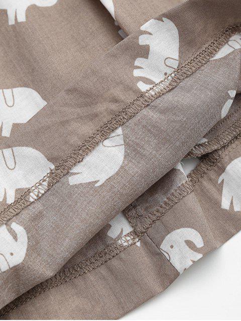 unique Pockets Elephant Print Loungewear Shorts - LIGHT KHAKI M Mobile