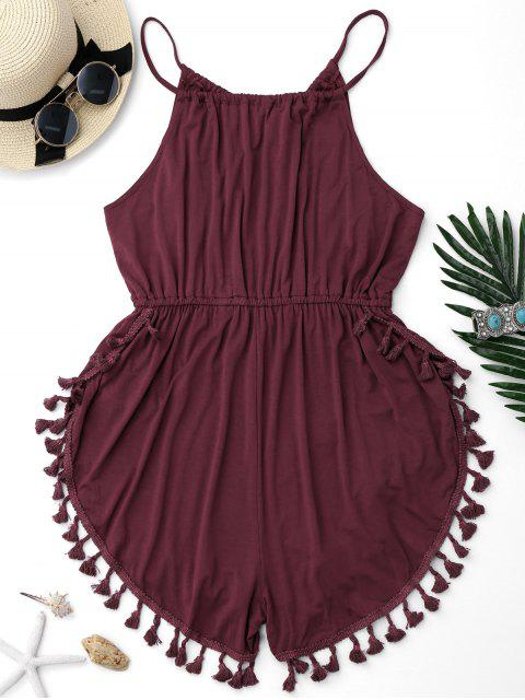 affordable Tassel Cover Up Dolphin Romper - BURGUNDY XL Mobile