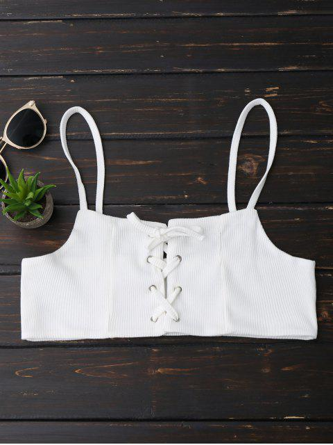 trendy Lace Up Ribbed Cami Top - WHITE L Mobile