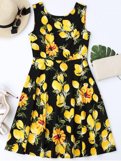 affordable Lemon Print Sleeveless Flare Dress - BLACK M Mobile
