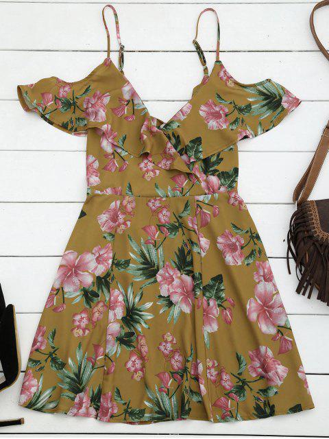 buy Cut Out Ruffles Cold Shoulder Mini Dress - FLORAL M Mobile