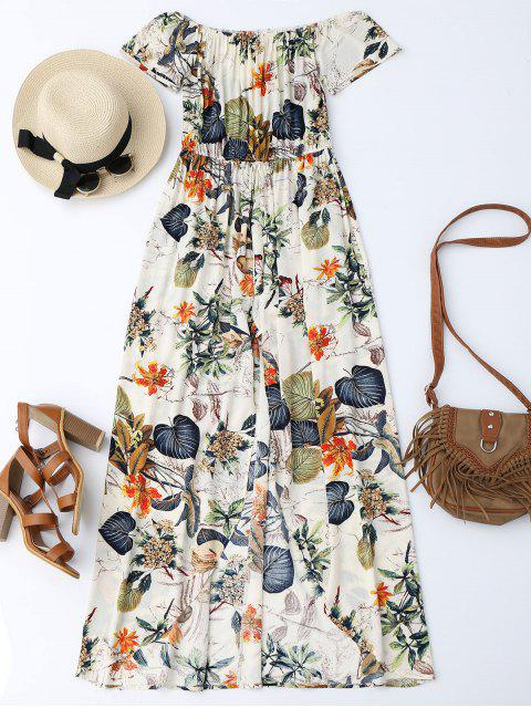 fashion Off The Shoulder Leaves Print Maxi Romper - MULTI XL Mobile