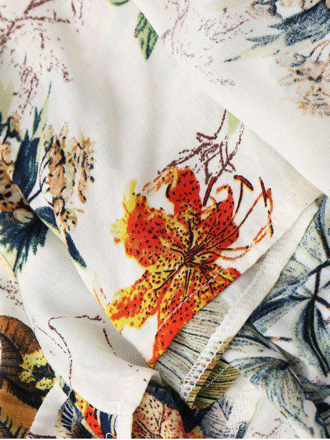 fashion Off The Shoulder Leaves Print Maxi Romper - MULTI XL Mobile