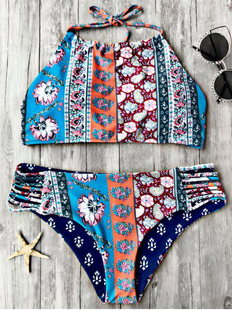fashion Patchwork Print High Neck Bikini Set - FLORAL M Mobile