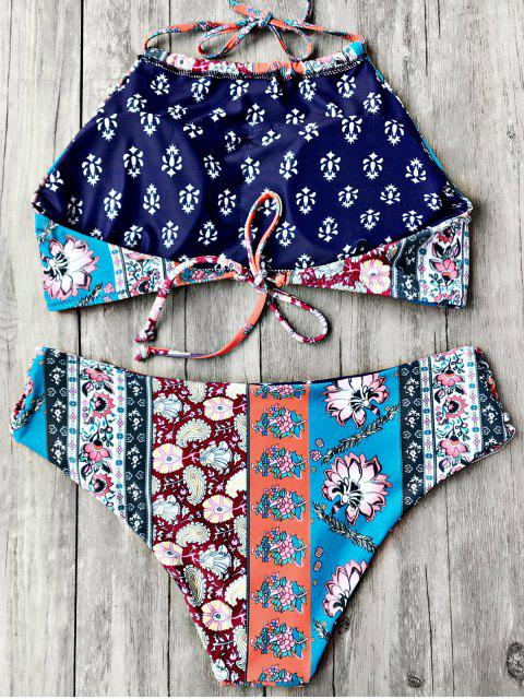 chic Patchwork Print High Neck Bikini Set - FLORAL S Mobile
