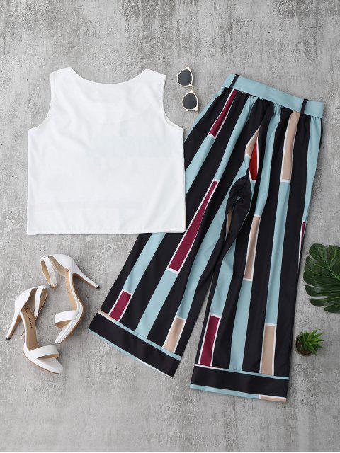 lady Striped Tank Top and Belted Pants - LIGHT BLUE M Mobile