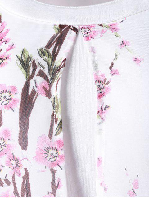 shop Plus Size Tiny Floral High Low Blouse - WHITE 2XL Mobile