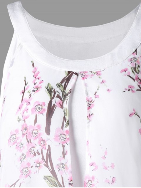 latest Plus Size Tiny Floral High Low Blouse - WHITE 4XL Mobile