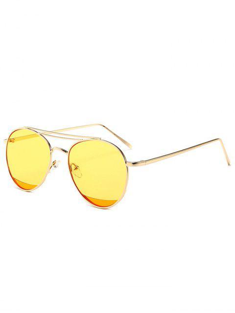 Gespiegelte Doppelte Metall Querlatte Pilot Sonnenbrille - Gelb  Mobile