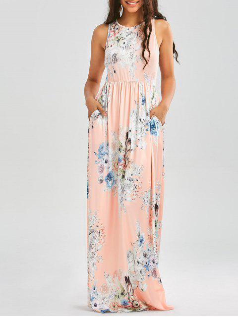 Blumendruck ärmelloses Taillen-Maxi-Kleid - orange pink  S Mobile