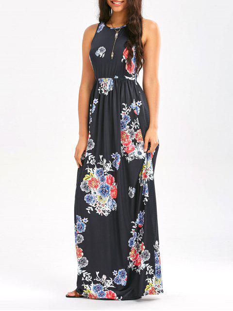 Blumendruck ärmelloses Taillen-Maxi-Kleid - Schwarz XL  Mobile