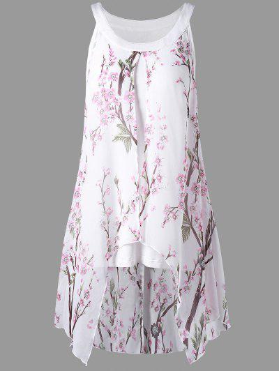 Plus Size Tiny Floral High Low Blouse - White 2xl