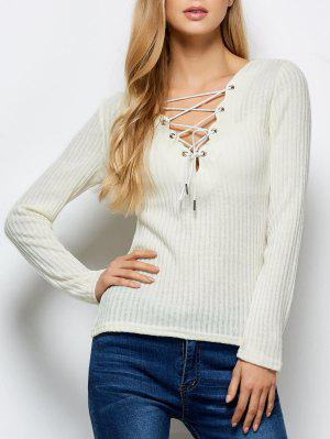 Ribbed Knit Lace Up Jumper - Beige S
