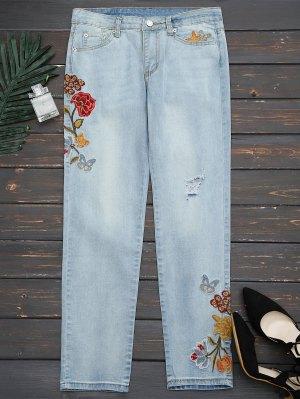 Rasgado Floral Bordado Pies Estrechos Jeans - Denim Blue L