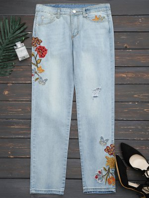 Rasgado Floral Bordado Pies Estrechos Jeans - Denim Blue M