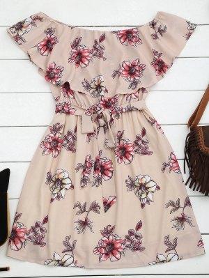 Mini Vestido Fuera Del Hombro De Flores Con Cinturón - Rosa S